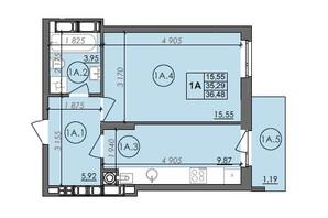 ЖК Panorama: планування 1-кімнатної квартири 36.48 м²