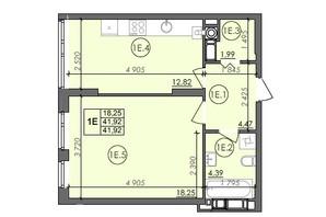 ЖК Panorama: планировка 1-комнатной квартиры 41.92 м²