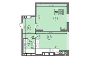 ЖК Panorama: планировка 1-комнатной квартиры 46.46 м²