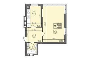 ЖК Panorama: планировка 1-комнатной квартиры 46.56 м²