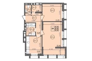 ЖК Panorama: планировка 2-комнатной квартиры 59.99 м²