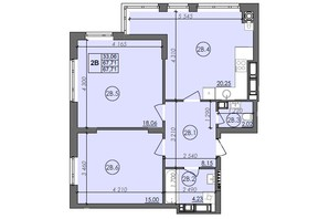 ЖК Panorama: планировка 2-комнатной квартиры 67.71 м²