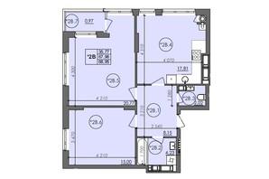 ЖК Panorama: планировка 2-комнатной квартиры 68.95 м²