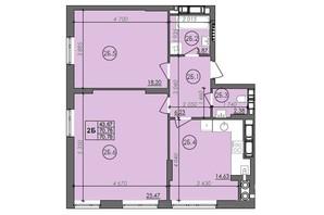 ЖК Panorama: планировка 2-комнатной квартиры 70.78 м²