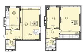 ЖК Panorama: планировка 3-комнатной квартиры 90.23 м²