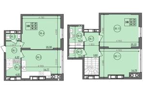 ЖК Panorama: планировка 3-комнатной квартиры 96.26 м²