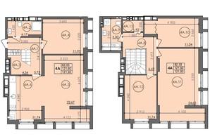 ЖК Panorama: планировка 4-комнатной квартиры 121.92 м²