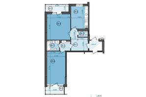 ЖК Panorama: планування 2-кімнатної квартири 71.47 м²