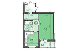 ЖК Panorama: планування 1-кімнатної квартири 41.52 м²