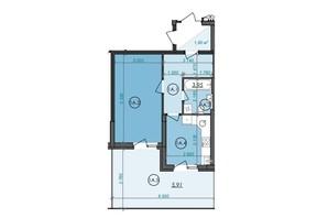 ЖК Panorama: планування 1-кімнатної квартири 43.07 м²