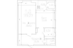 ЖК Панорама: планировка 1-комнатной квартиры 49.27 м²