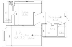 ЖК Панорама: планировка 1-комнатной квартиры 48.32 м²