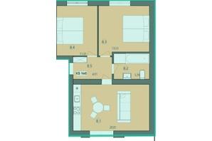 ЖК Панський маєток: планировка 2-комнатной квартиры 56 м²
