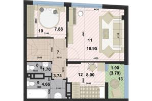 ЖК Paradise Avenue: планировка 1-комнатной квартиры 95.22 м²