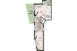 ЖК Paradise Avenue: планировка 2-комнатной квартиры 62.73 м²