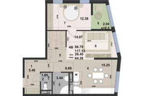 ЖК Paradise Avenue: планировка 2-комнатной квартиры 117.13 м²