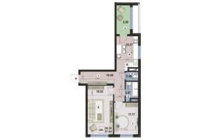 ЖК Paradise Avenue: планировка 2-комнатной квартиры 57.64 м²