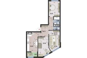 ЖК Paradise Avenue: планировка 3-комнатной квартиры 74.91 м²