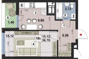 ЖК Paradise Avenue: планування 1-кімнатної квартири 36.7 м²