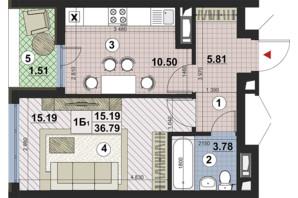 ЖК Paradise Avenue: планування 1-кімнатної квартири 36.79 м²