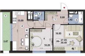 ЖК Paradise Avenue: планування 2-кімнатної квартири 59.49 м²