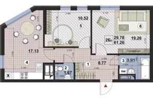 ЖК Paradise Avenue: планування 2-кімнатної квартири 61.26 м²