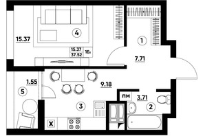 ЖК Paradise Avenue: планування 1-кімнатної квартири 37.52 м²