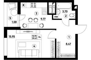 ЖК Paradise Avenue: планування 1-кімнатної квартири 39.47 м²