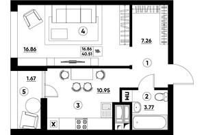 ЖК Paradise Avenue: планування 1-кімнатної квартири 40.51 м²