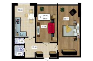 ЖК Paradise: планування 2-кімнатної квартири 91.08 м²