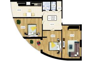 ЖК Paradise: планування 3-кімнатної квартири 135 м²