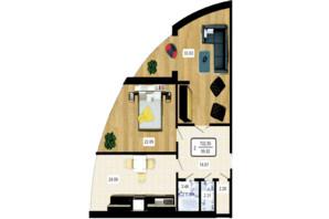 ЖК Paradise: планування 2-кімнатної квартири 108 м²