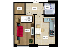ЖК Paradise: планування 1-кімнатної квартири 50 м²