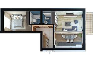 ЖК Парк Фонтанiв: планування 2-кімнатної квартири 62.5 м²