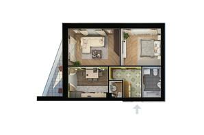 ЖК Парк Фонтанiв: планування 2-кімнатної квартири 59.7 м²