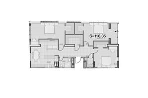 ЖК Park Hills: планировка 3-комнатной квартиры 116.35 м²