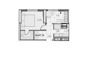 ЖК Park Hills: планування 1-кімнатної квартири 27.74 м²