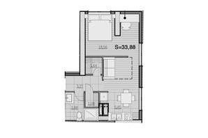 ЖК Park Hills: планування 1-кімнатної квартири 33.88 м²