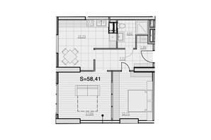 ЖК Park Hills: планування 2-кімнатної квартири 58.41 м²