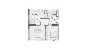 ЖК Park Hills: планування 2-кімнатної квартири 59.02 м²