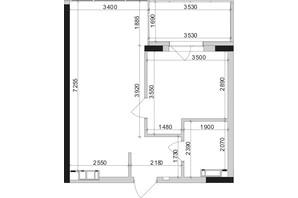 ЖК Park Lake City: планування 1-кімнатної квартири 45.24 м²