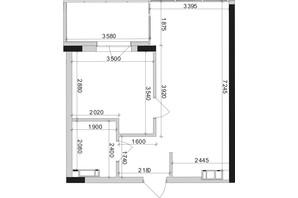 ЖК Park Lake City: планування 1-кімнатної квартири 44.67 м²