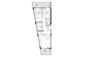 ЖК Park Lake City: планування 2-кімнатної квартири 74.68 м²