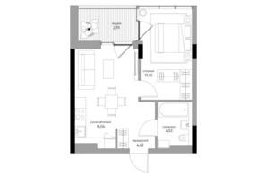 ЖК Park Lake City: планування 1-кімнатної квартири 41.33 м²