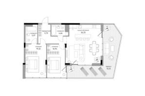 ЖК Park Lake City: планування 2-кімнатної квартири 103.13 м²