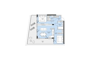 ЖК Park Lake City: планування 2-кімнатної квартири 76.35 м²