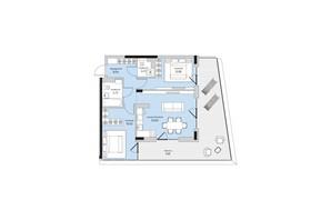 ЖК Park Lake City: планування 2-кімнатної квартири 77.49 м²