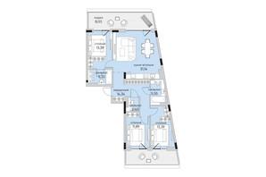 ЖК Park Lake City: планування 3-кімнатної квартири 110.8 м²