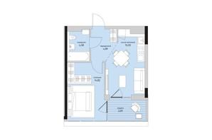 ЖК Park Lake City: планування 1-кімнатної квартири 42.03 м²