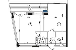 ЖК Park Lake City: планировка 1-комнатной квартиры 58.56 м²